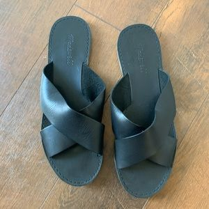MADEWELL | Leather Boardwalk Slides Sandals 9.5